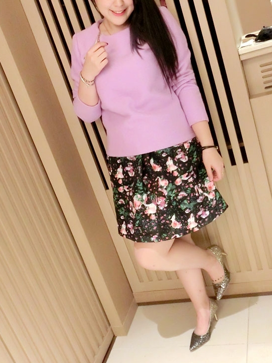 Alysa Zipper Blouse and Floral Skirt Set