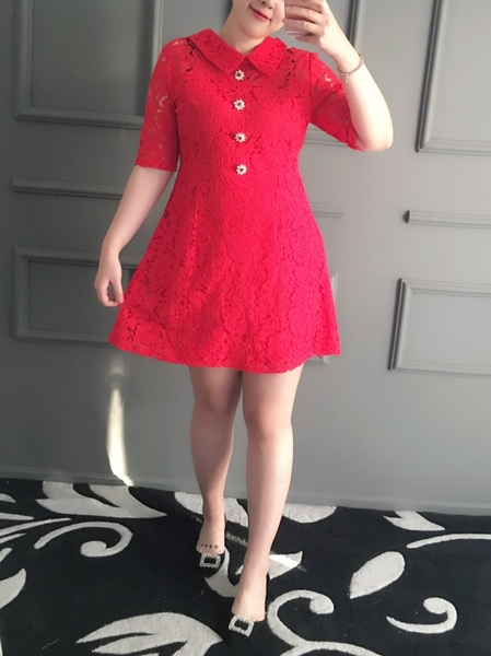 Menou Red Lace Shirt Dress