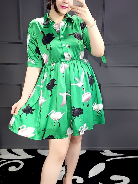 Swan Sheen Shirt Dress