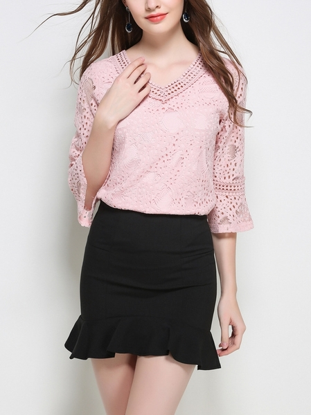 Bell Sleeve Cross-back V-neck Blouse (Pink)