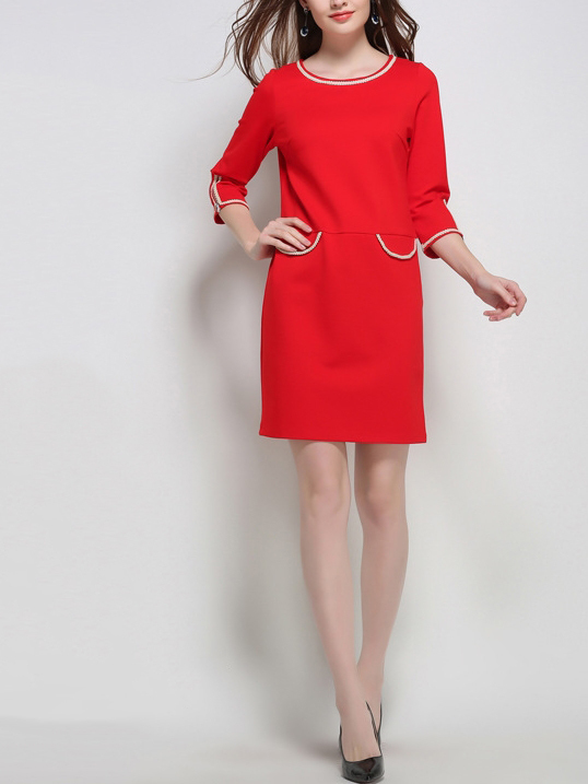 Elegance Round-neck Shift Dress