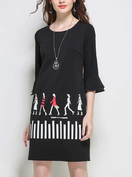 Walking On Flutter Sleeve Dress
