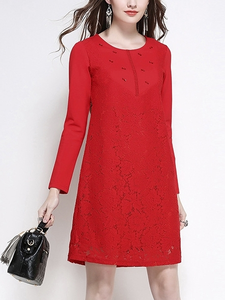 Bow Diamante Lace Shift Dress