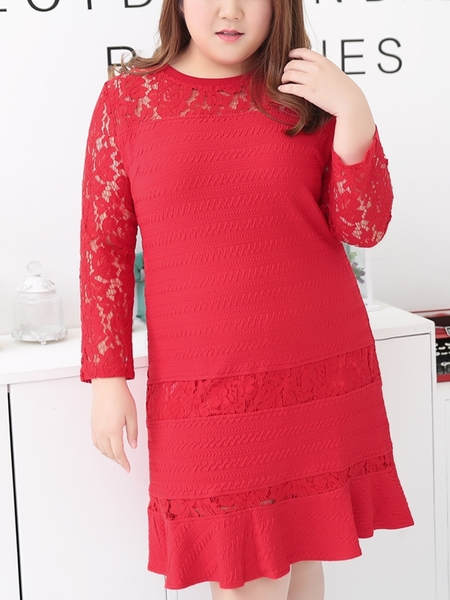Mermaid Hem Lace Dress (EXTRA BIG SIZE!) (RED)