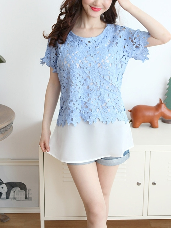 Pastel Crochet + Inner Blouse 2 Piece (EXTRA BIG SIZE!)