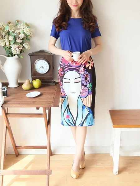 Portrait Oriental Top and Skirt Set (EXTRA BIG SIZE!)