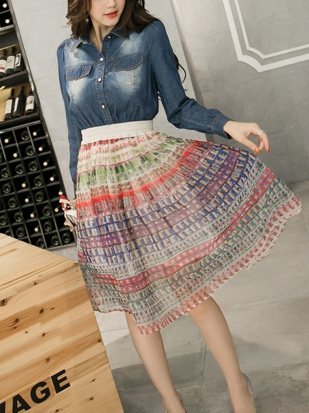 (4XL Ready Stock *2) Poule Denim Organza Midi Dress