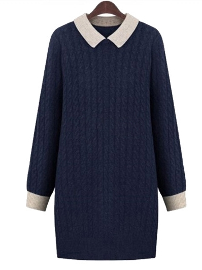 (Ready Stock Navy XL *1) Marmalade Cableknit Shirtdress