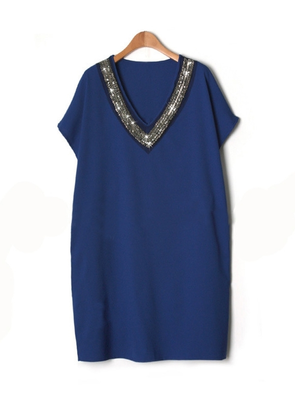 (Ready Stock Blue 3XL, 5XL *1) Sequin V-neck Dress