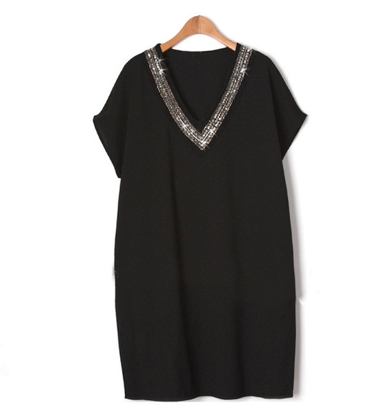 (Ready Stock Black 2XL- 5XL Limited) Sequin V-neck Dress