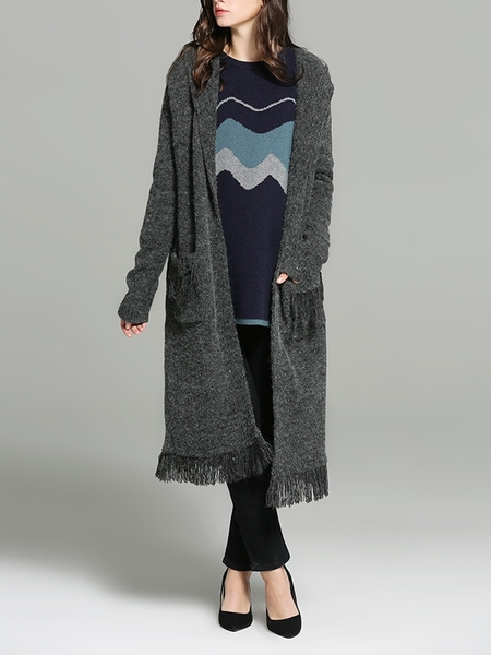 Sevigne Fringe Long Knit Jacket
