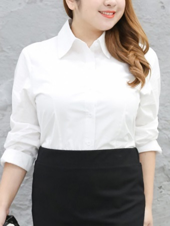 Hana Formal White Shirt (EXTRA BIG SIZE!)