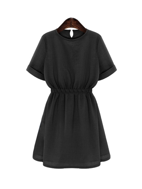 (Ready Stock Black 3XL *1) Simple Waist Dress (2 Colour)
