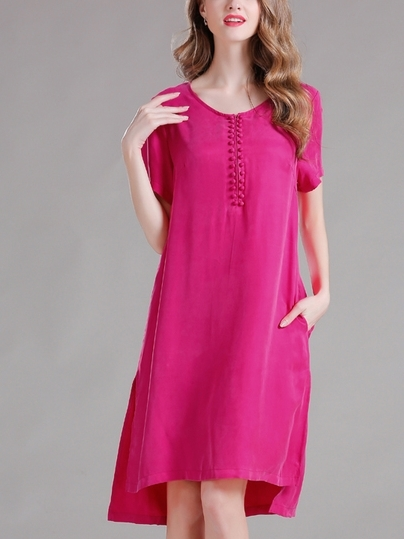 (Ready Stock Rose Pink 4XL *1) Multi-Button Silk Dress (Many Colours!)