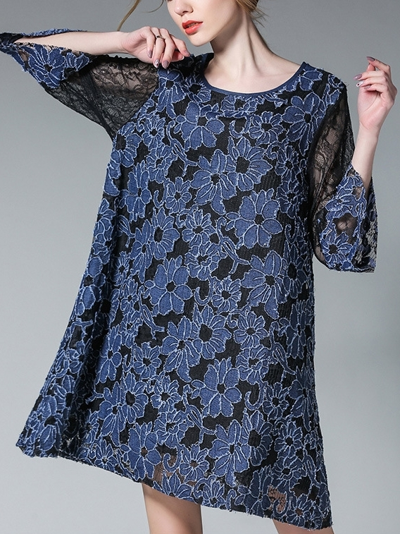 Zare Denim Lace Dress