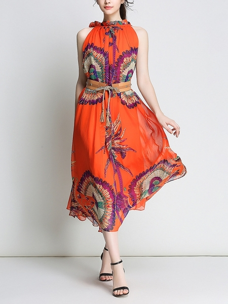 Crucean Summer Flowy Chiffon Dress