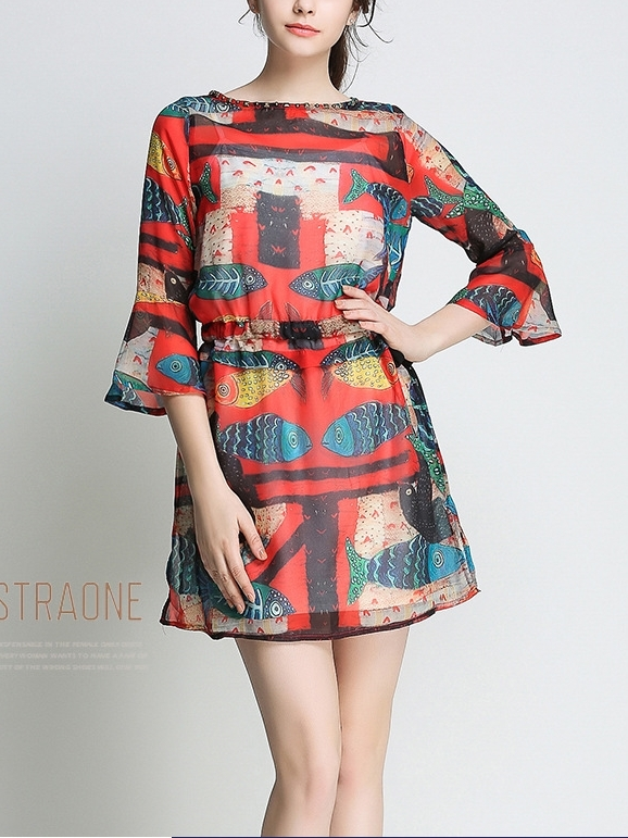Elvisa Printed Chiffon Dress