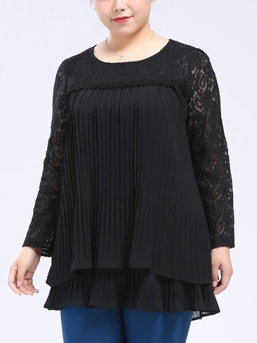 Lace Pleat Accordion L/s Blouse (EXTRA BIG SIZE)