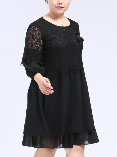Rerine Lace Layer Dress (EXTRA BIG SIZE)