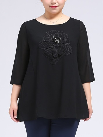 Henrreta Applique Flower Blouse (EXTRA BIG SIZE)