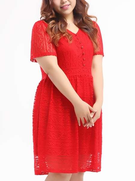 Vorelly Lace Red Dress (EXTRA BIG SIZE)