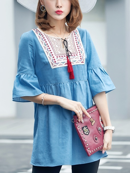 Fenella Ethnic Denim Blouse