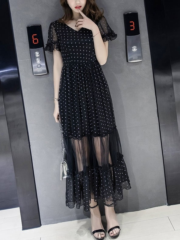 Alexi See-through Hem Dress