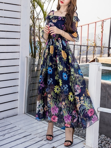 Alia Off-shoulder Resort Maxi Dress
