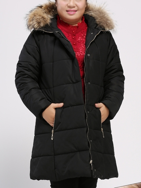 Angelina Panel Fur-hooded Tunic Winter Jacket (EXTRA BIG SIZE)