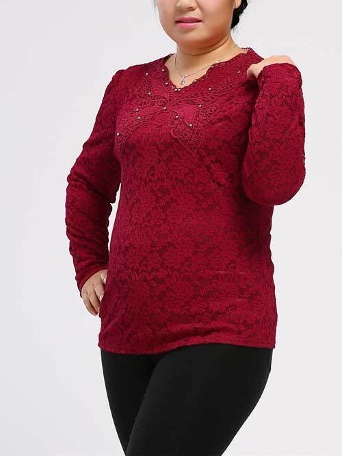 Anissa Lace L/s Top (EXTRA BIG SIZE) (Black)
