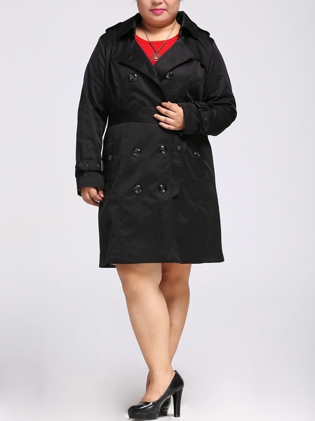 Anjeanette Trench Coat (EXTRA BIG SIZE) (BLACK)