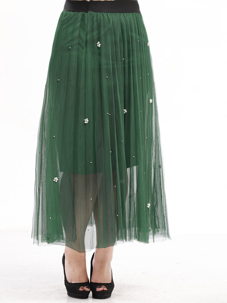 Arabelle Flower-pearls Tulle Pleat Maxi Skirt (EXTRA BIG SIZE)