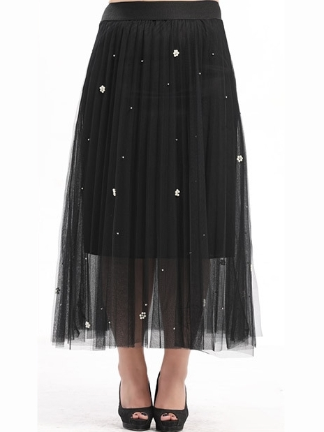Arabelle Flower-pearls Tulle Pleat Maxi Skirt (EXTRA BIG SIZE) (Black)