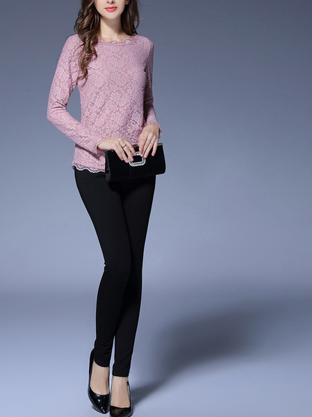 (Restocked!)  Faithe Lace L/s Top (Pink)