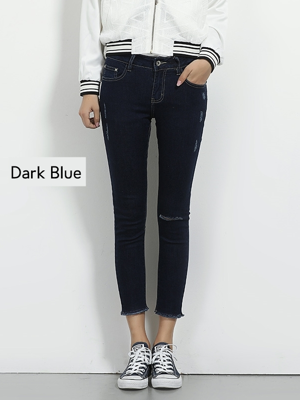 Eithne Slit Frayed Denim Skinny Capri Jeans