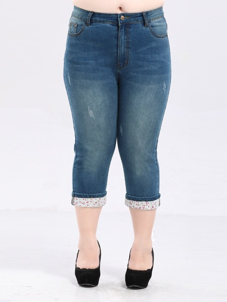 Eulalie Stretch Capri Denim Jeans (EXTRA BIG SIZE)