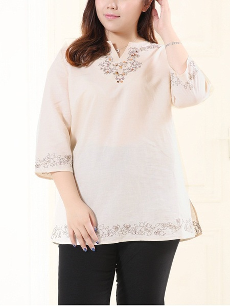 Etney Embroidered Linen Long Top (EXTRA BIG SIZE)