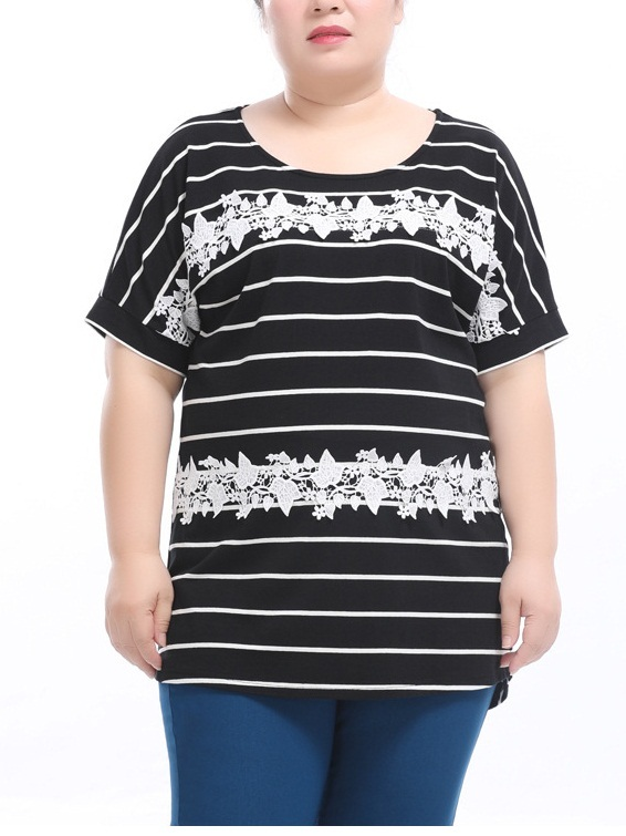 Ethelreda Stripe Lace Top (EXTRA BIG SIZE)