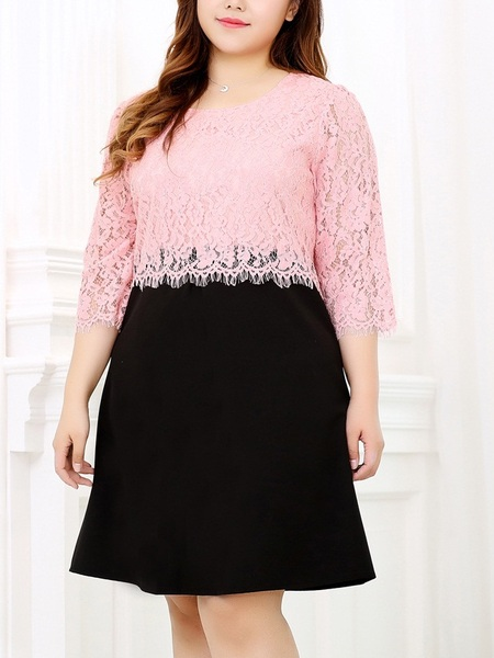 Ethel Lace Block Dress (EXTRA BIG SIZE)