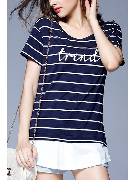 Eldean Stripe Layer Word Top