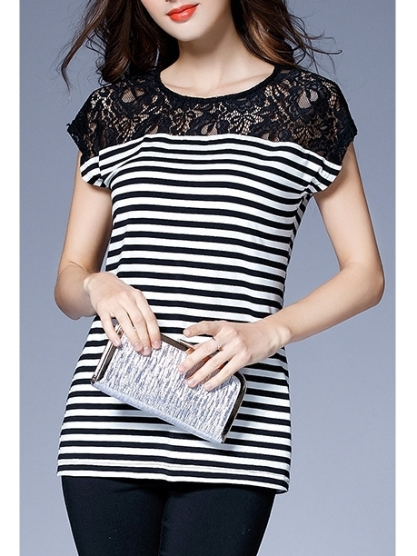 Sadie Stripe Lace Layer Blouse