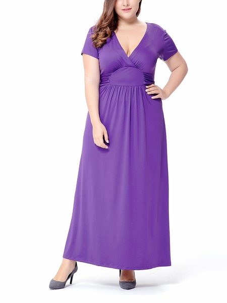 Francine Cinched Waist Maxi Dress (EXTRA BIG SIZE) (Purple)
