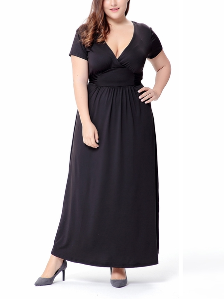 Francine Cinched Waist Maxi Dress (EXTRA BIG SIZE) (Black)
