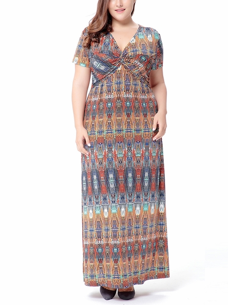 Francoise Twist Maxi Dress (EXTRA BIG SIZE) (Earth Brown)