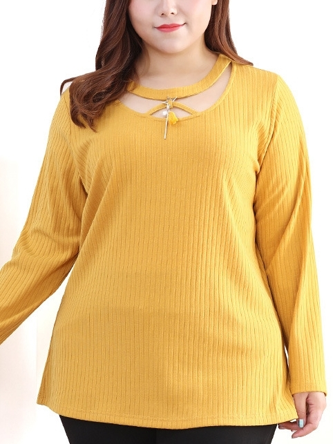 Jaine Tassel Layer Knit L/s Top (EXTRA BIG SIZE) (2 COLOURS)