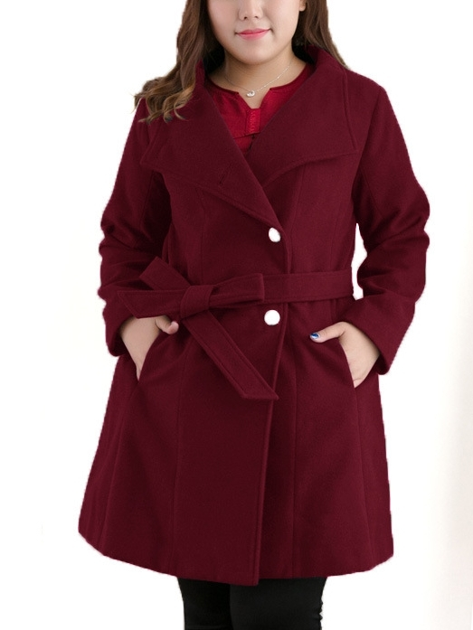Jala Waist Tie Winter Woolen Coat (EXTRA BIG SIZE)