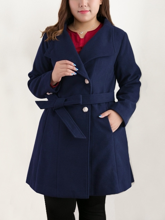 Jala Waist Tie Winter Woolen Coat (EXTRA BIG SIZE) (2 COLOURS)