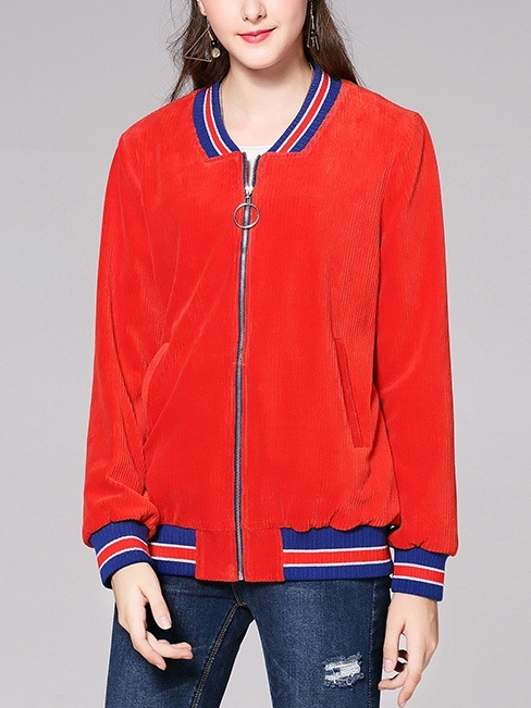 Jasia Red Baseball Jacket