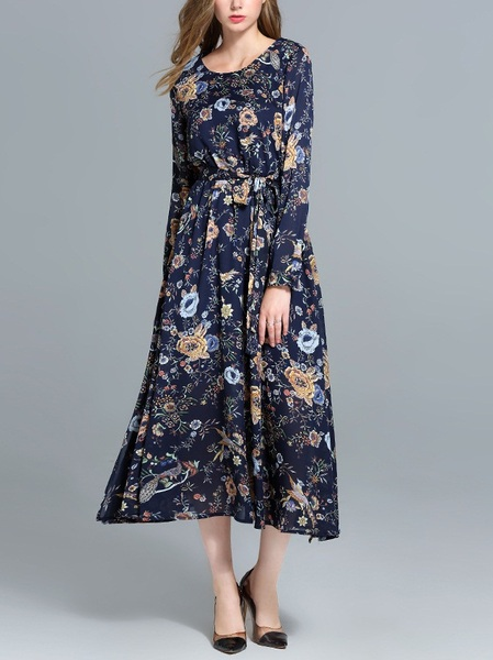 Jennalyn Printed Long Waist Tie Dress