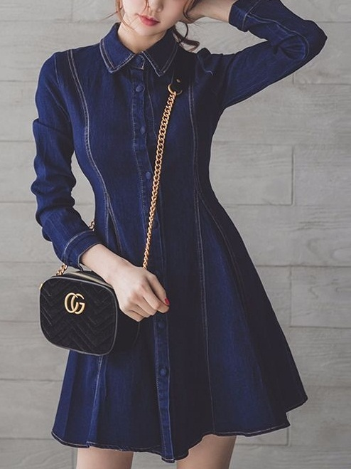 Kachina Denim Flare Shirt Dress